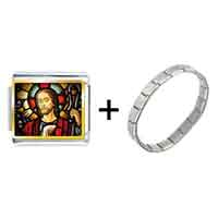 Items from KS - gold plated religion jesus photo italian charm bracelets Image.
