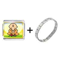 Items from KS - gold plated religion buddhism little monk photo italian charm bracelets Image.