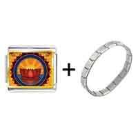 Items from KS - gold plated religion buddhism holy lotus photo italian charm bracelets Image.