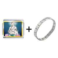 Items from KS - gold plated religion holy buddha with lotus photo italian charm bracelets Image.