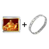 Items from KS - gold plated religion huge buddha figure photo italian charm bracelets Image.