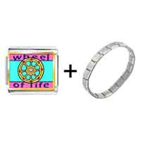 Items from KS - gold plated religion wheel of life photo italian charm bracelets Image.