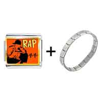 Items from KS - gold plated music rap photo italian charm bracelets Image.