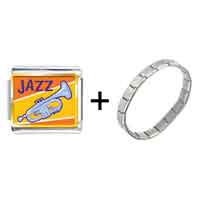 Items from KS - gold plated music jazz instrument photo italian charm bracelets Image.