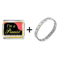 Items from KS - gold plated music i am a pianist photo italian charm bracelets Image.