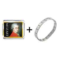 Items from KS - gold plated music mozart photo italian charm bracelets Image.