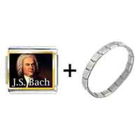 Items from KS - gold plated music j. s. bach photo italian charm bracelets Image.