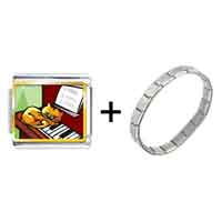 Items from KS - gold plated music piano and cat photo italian charm bracelets Image.