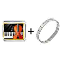 Items from KS - gold plated music piano and cello photo italian charm bracelets Image.