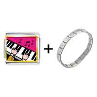 Items from KS - gold plated music piano playing photo italian charm bracelets Image.