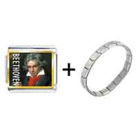 Items from KS - gold plated music beethoven photo italian charm bracelets Image.