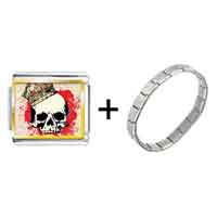 Items from KS - gold plated music theme halloween skull and blood photo italian charm bracelets Image.