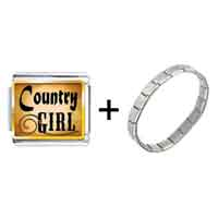 Items from KS - gold plated music theme country girl photo italian charm bracelets Image.