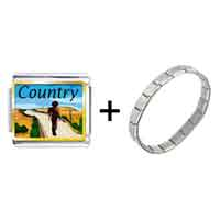 Items from KS - gold plated music theme country scene photo italian charm bracelets Image.