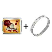 Items from KS - gold plated music theme cowboy photo italian charm bracelets combination Image.