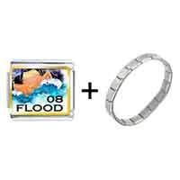 Items from KS - gold plated nature 2008  flood photo italian charm bracelets combination Image.