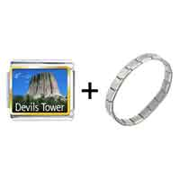 Items from KS - gold plated landmark devils tower photo italian charm bracelets combination Image.