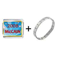 Items from KS - gold plated usa patriotic 2008  mccain photo italian charm bracelets combination Image.