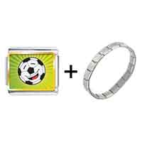 Items from KS - gold plated sports soccer photo italian charm bracelets combination Image.