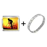 Items from KS - gold plated sports cyclocross photo italian charm bracelets combination Image.