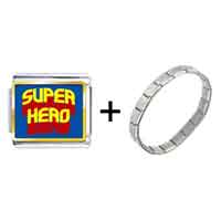 Items from KS - gold plated famous people superhero photo italian charm bracelets combination Image.
