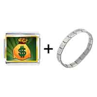 Items from KS - gold plated hobbies money bag photo italian charm bracelets combination Image.