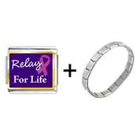 Items from KS - relay for life photo italian charm combination Image.