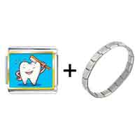 Items from KS - tooth and brush photo italian charm combination Image.