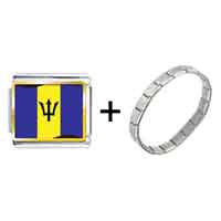 Items from KS - barbados flag photo italian charm combination Image.