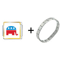 Items from KS - republican elephant photo charms combination Image.