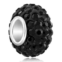 Birthstone Charms 925 Sterling Silver Classic Black Crystal Bead