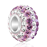 Birthstone Charms Rose Pink And Clear White Birthstone Crystals Ball Bead Sterling Silver Charm