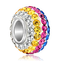Birthstone Colorful Crystals Ball Sterling Silver Beads Charms Bracelets Fit All Brands