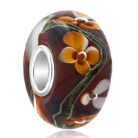 925 Sterling Silver Brown Flower Clover Black Murano Glass Beads Fit All Brands Charms Bracelets