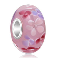 925 Sterling Silver Pink White Flower Murano Glass Beads Fit All Brands Charms Bracelets