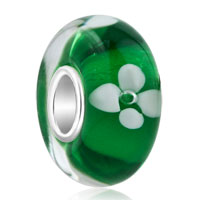 925 Sterling Silver Green White Flower Murano Glass Beads Fit All Brands Charms Bracelets
