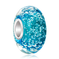 Aquamarine Blue Bubbles Fit All Brands Murano Glass Beads Charms Bracelets