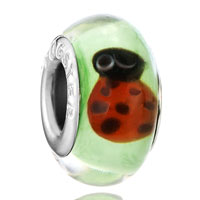 Green Cute Red Ladybug Fits Murano Glass Beads Charms Bracelets Fit All Brands