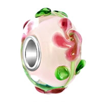 3 D Rose Flower Green Leaf Pink Fit All Brands Murano Glass Beads Charms Bracelets