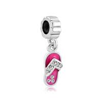 Swarovski Crystal Rose Pink Beach Sandal Dangle Lucky Charm Bracelet