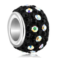 Birthstone Black Stones Dotted With April Element Crystal Murano Glass Beads Charms Bracelets Fit All Brands
