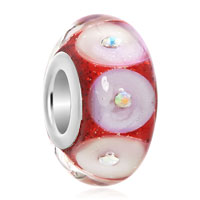 Multi Color Circle With Clear White Crystal Birthstones Glitter Red Fit All Brands Murano Glass Beads Charms Bracelets