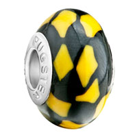 Yellow Black Irregular Shapes Lampwork Silver Beads Charms Bracelets Fit All Brands