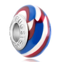 Blue White Red Stripes Polymer Clay Beads Charms Bracelets Fit All Brands