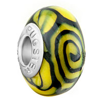 Black Whirlpool Citrine Yellow Polymer Clay Fit All Brands Murano Glass Beads Charms Bracelets