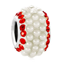 July Ruby Red Swarovski Element Crystal Clear White Pearls Silver Fit All Brands Murano Glass Beads Charms Bracelets