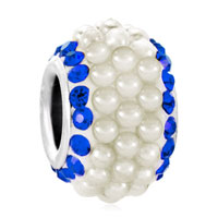 Sapphire Blue Crystal Clear White Pearls Silver Murano Glass Beads Charms Bracelets Fit All Brands