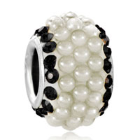 Black Crystal Clear White Pearls Silver Murano Glass Beads Charms Bracelets Fit All Brands