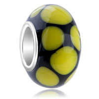 Yellow Dots Slim Fit Murano Glass Beads Charms Bracelets All Brands