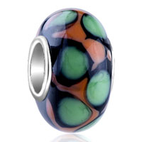 Pale Green And Black Spot Dotted Fit Murano Glass Beads Charms Bracelets All Brands